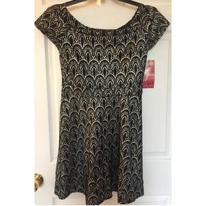 NWT Modcloth Black Gold Scoop Neck Party Dress